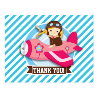 Girl Pilot in Pink Airplane; Blue & White Stripes Postcards