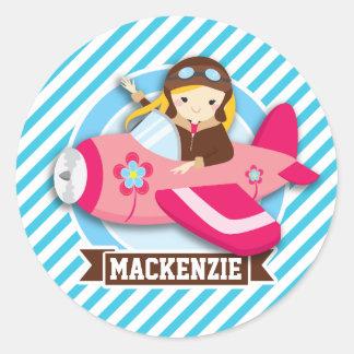 Girl Pilot in Pink Airplane; Blue & White Stripes Round Sticker