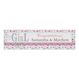 GIRL Pink Aqua Brown Dots Baby Shower Banner Poster