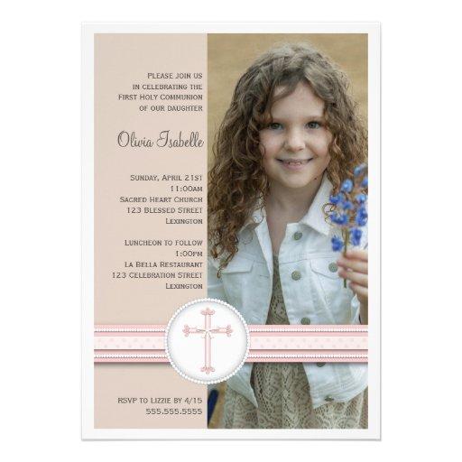 Girl Pink   Beige Photo Communion Invitation