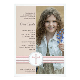 Girl Pink | Beige Photo Communion Invitation
