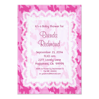 GIRL Pink Camouflage Lace  Baby Shower V10 Card