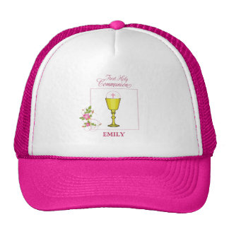 Girl Pink First Holy Communion, Chalice, Host, Ros Cap