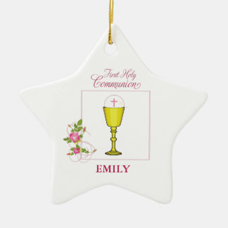 Girl Pink First Holy Communion, Chalice, Host, Ros Christmas Ornament