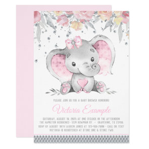 Girl Pink Grey Elephant Diamond Baby Shower Invitation