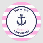 Girl Pink Nautical Baby Shower Thank You Favour Classic Round Sticker