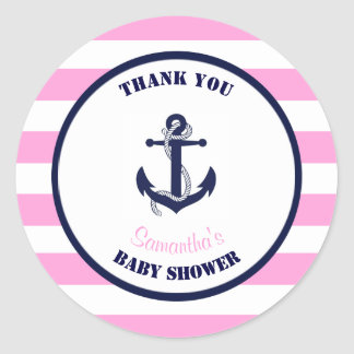 Girl Pink Nautical Baby Shower Thank You Favours Round Sticker