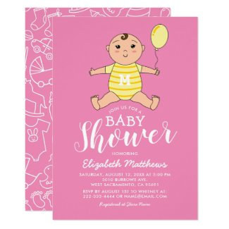 Girl Pink Yellow Cute Baby Shower Invitation