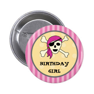 Girl Pirate Birthday Button