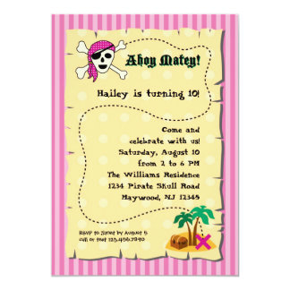 Girl Pirate Birthday Invitation