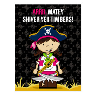 Girl Pirate Captain Postcard
