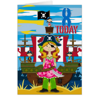Girl Pirate Ship Scene 8th Birthday Card
