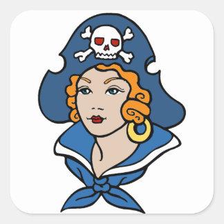 Girl Pirate Square Sticker