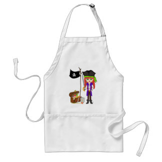 Girl Pirate with Treasure and Flag Apron