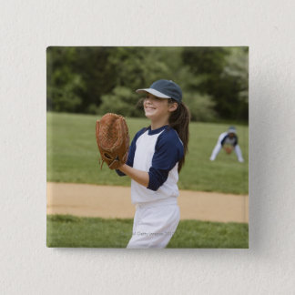Girl pitching in little league softball game 15 cm square badge