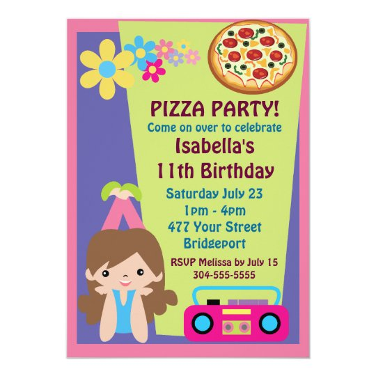 Girl Pizza Party Birthday Card