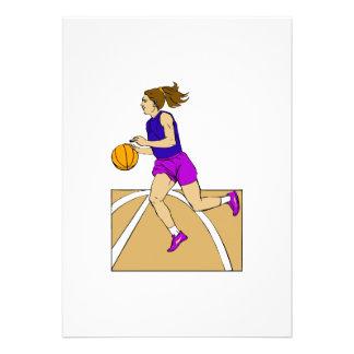 Girl playing basketball custom invitations