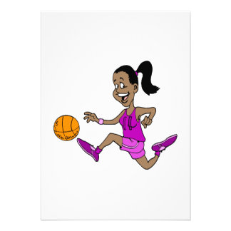 Girl playing basketball personalized announcements
