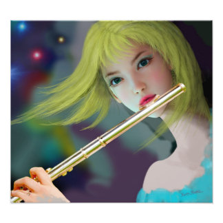 Girl Playing Flute 2 Photo