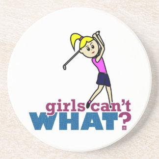 Girl Playing Golf Beverage Coaster