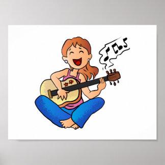 girl playing guitar poster