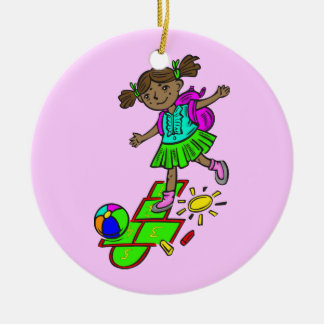 Girl Playing Hopscotch Christmas Ornament