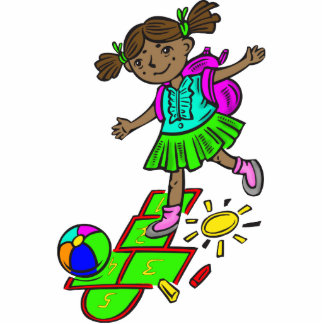 Girl Playing Hopscotch Photo Cut Out
