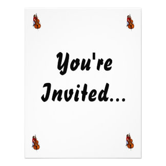 Girl playing orchestra bass red shirt custom invitations