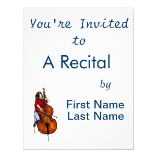 Girl playing orchestra bass red shirt personalised announcement