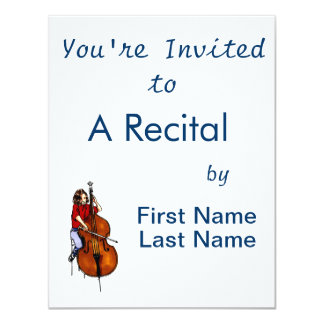 Girl playing orchestra bass red shirt invitations