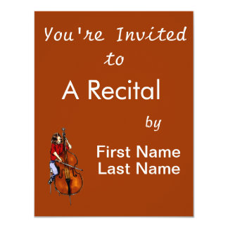 "Girl playing orchestra bass red shirt 4.25"" x 5.5"" invitation card"