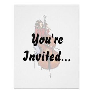 Girl playing orchestra bass red shirt personalized invites