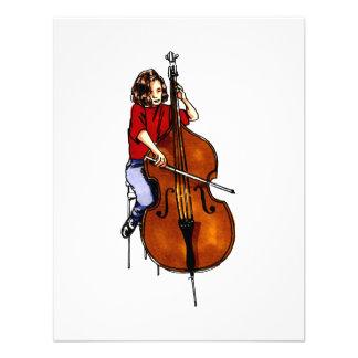 Girl playing orchestra bass red shirt custom invitation