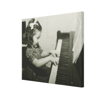 Girl Playing Piano Canvas Print