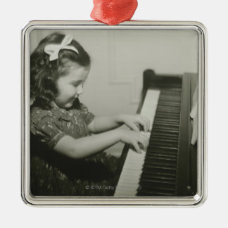 Girl Playing Piano Silver-Colored Square Decoration