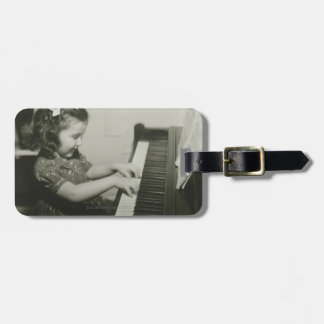 Girl Playing Piano Luggage Tag