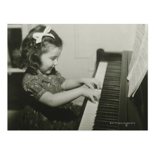 Girl Playing Piano Post Card