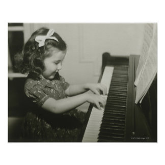 Girl Playing Piano Poster