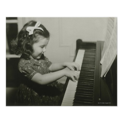 Girl Playing Piano Posters