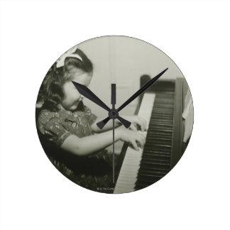 Girl Playing Piano Round Clock