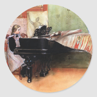 Girl Playing Piano Round Sticker