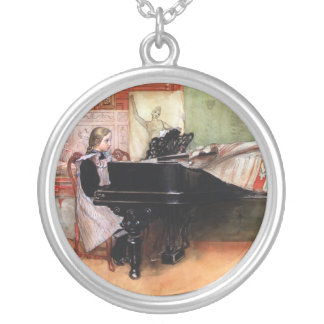 Girl Playing Piano Silver Plated Necklace