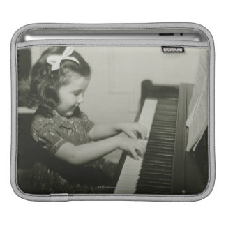 Girl Playing Piano Sleeves For iPads