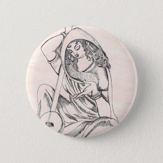 Girl Playing Sitar 6 Cm Round Badge