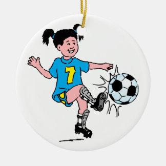 Girl Playing Soccer Round Ceramic Decoration