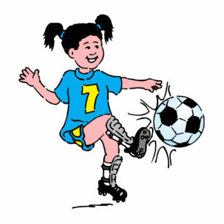 Girl Playing Soccer Standing Photo Sculpture