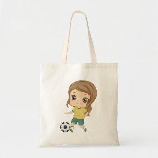 Girl Playing Soccer Tote Bag