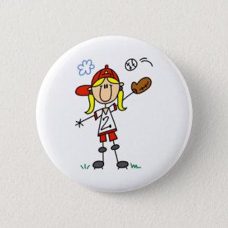 Girl Playing Softball Button