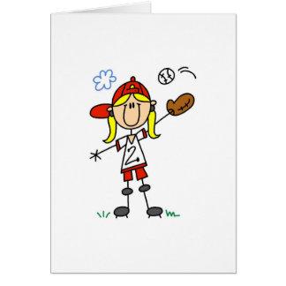 Girl Playing Softball Card