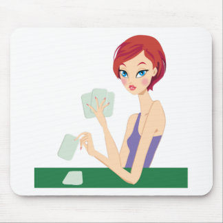 Girl playing Texas Holdem Mouse Pad